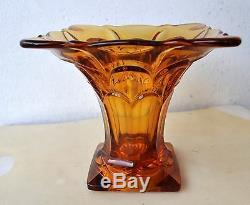 Rare Ancien Vase En Verre Ambré Art Déco De 17,5 CM De Hauteur / Largeur