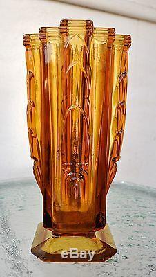 Rare Ancien Vase En Verre Ambré Art Déco De 26 CM De Hauteur, Superbe Croix En Forme De Croix Inca