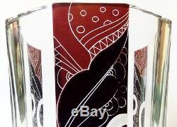 Rare Antique Art Déco Des Années 1930 Karel Palda Luxueux Vase En Verre Bohémien Moderniste