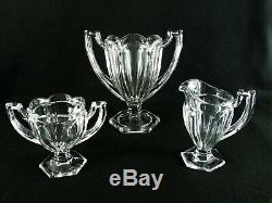 Rare Art Déco Baccarat Harcourt Verre Cristal Set Vase, Sucrier Et Pot À Lait