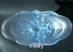 Rare Art Déco Partie Bleu Givré Pressé De Verre Schmetterling Vase Walther & Söhne