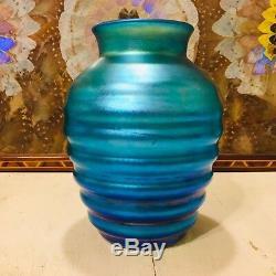 Rare C. 1930 Vase Beehive Dur Art Verre Lustre Iridescent Bleu Aurène Signé