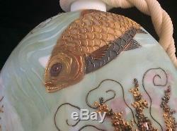 Rare Crown Milano Mt. Washington Moriage Aquatique Art Glass Aiguière / Vase