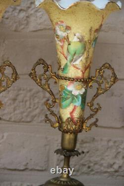 Rare Dessus Antique Français'art Nouveau Paire Vase D'oiseau De Peinture À La Main D'émail De Paire