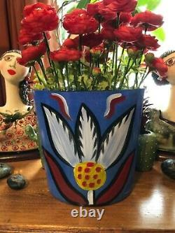 Rare Grand Kosta Boda Ulrica Hydman Vallien Signé Vase D'art Peint Fleur 14