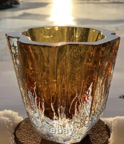 Rare Grand Solide Goran Warff Kosta Boda Suède Mur Épais Amber Art Glass Vase