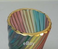 Rare Mt. Washington Rainbow Art Vase En Verre Avec Boutons De Fleurs, Motif Tourbillon, V. 1880