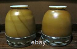 Rare Paire D'ombres En Verre D'art Signée Steuben Intarsia Vers 1915 Vase Antique
