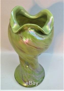 Rare Rindskopf Art Nouveau Vase En Verre Chartreuse C. 1900 Antique Bohême