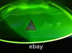 Rare Signé Borek Sipek Ajeto Uranium Wrythen Bulles Czech Art Glass Vase Tazza