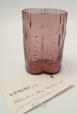 Rare Signé Venini Murano Italian Art Glass Vase 1967 Publicité Promotionnelle