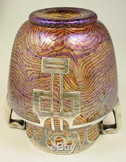 Rare Sterling Overlay Heckert Art Vase En Verre Otto Thamm Design C. 1902 Loetz Era