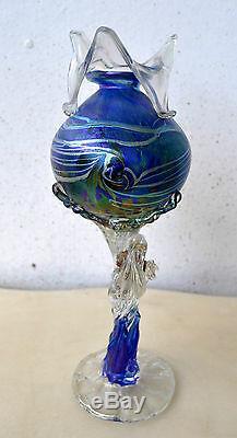 Rare Tina Cooper Vase En Art Bleu Irisé Sculpture 1996 Australien