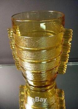 Rare Vase À Puce En Colle Encollé Pierre D'avesn Ambre Art Déco Daum Frères France 1935