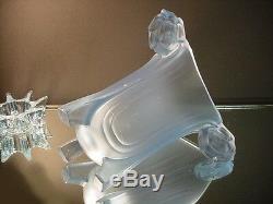 Rare Vase Art Déco Harald En Verre Art Walther & Sohne Avec Verre Bleu Satin De Frog