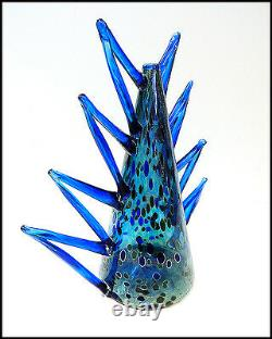 Rare Vase Chihuly Dale Original Vénitien En Verre Soufflé Signée À La Main Création Macchia