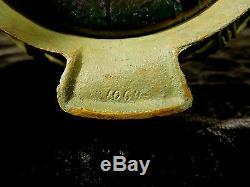 Rare Vase Loetz Art Nouveau Irisé Au Bronze Original Formé Stand C 1905