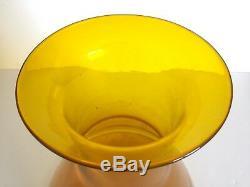 Rare Vintage 1957 MCM Blenko Jonquille Jaune Monumental XL Art Glass Vase Étage