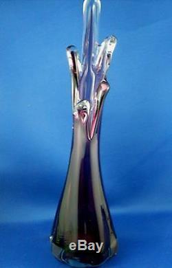 Rare Vintage Murano Italie Amethyst Art Glass Vase À La Main À Doigt Vg