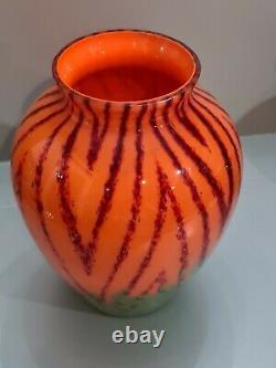 Rare Vintage Tchèque Art Déco Kralik Welz Herringbone Vase