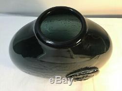 Rare Wayne Husted Blenko Charbon Vase. Milieu Du Siècle Verre Art Moderne MCM