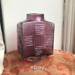 Rare Whitefriars Aubergine Stitch Vase Pattern 9811 Geoffrey Baxter Art Glass