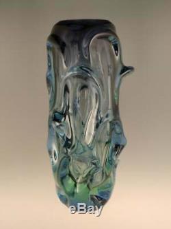 Rétro Art Vintage Vase En Verre Bleu Vert Sommerso Cased Verre Skrdlovice Tchèque