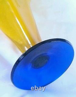 Richard Blenko Main Soufflé Art Verre Vase Jaune 12,5 Pouces