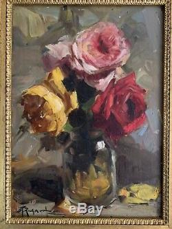 Richard Durando Togo (1910) Signée Huile Roses En Verre Vase Nature Morte