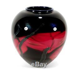 Richard Satava Chico Californie Art Studio Verre Vase Coquelicot Rouge Résumé Coquelicots