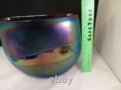 Robert Held Iridescent Studio Art Amethyst Iridescent Vase En Verre Signé