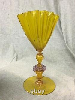 Salviati Murano Vénitien En Verre D'art 10-1/2 Pieds Éventail Vase, Raisins & Fleck D'or
