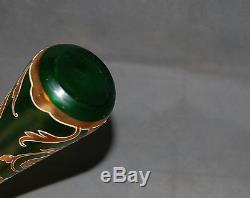 Satin Verre Antique Bohème Vert Givré Moser Gilt Art Nouveau Vase De Fleurs