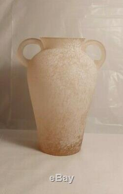 Seguso Vetri D'arte Grand Murano'scavo ' Sommerso Art Glass Vase Rose Monnaie