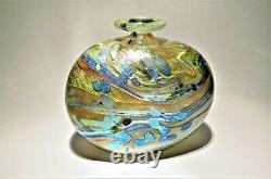 Signé 1982 Peter Layton Britannique Studio Vase En Verre Art