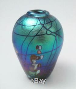 Signé Colin Heaney Iridescent Australian Art Studio Vase En Verre Cbhg 1990