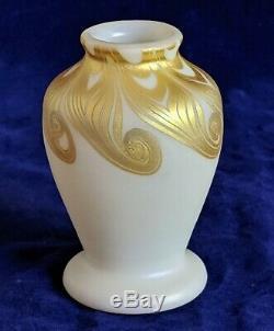 Signé Décorée Steuben Aurene 3.5 Verre Art Vase Cabinet Rare Pas De Réserve
