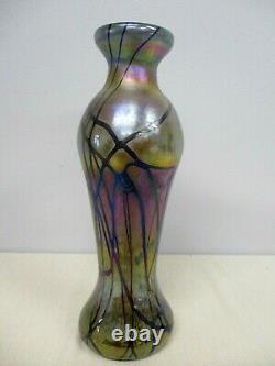 Signé Fellerman & Raabe 11 1/4 Vase En Verre D'art Iridescent