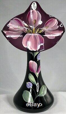 Signé Fenton Jack Dans L'orchidée Verre Peint Art Vase Main Améthyste Pulpit