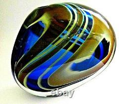 Signé Grand Vase Peter Layton British Studio Art Glass De 4,4 KG
