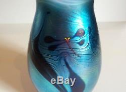 Signé James Lundberg Art Glass Vase, Lundberg Studios, 1977 (n ° 1)