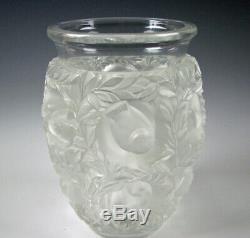Signé Lalique Bagatelle Givré Art Vase En Verre Avec Des Oiseaux