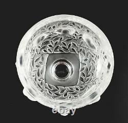 Signé Lalique France Art Glass Elizabeth Brossé À Pied Vase Bowl D'oiseau
