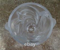 Signé Lalique Martinets Vase En Cristal Givré En Verre D'art Élevé Oiseaux 9.5 Avec Boîte