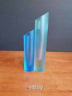 Signé Moser Cristal Art Glass Bud Vase Sculpture 9 Près De Mint Ultra Rare