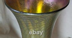 Signé Nash Iridescent Art Nouveau Vase Tiffany Studios Favrile Pas De Réserve