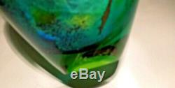 Signé Peter Layton Britannique Studio Vase En Verre Art