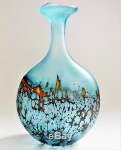 Signé Peter Layton Britannique Studio Vase En Verre Art, Lave