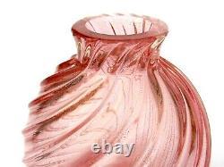 Signé Rare! Vase De Lobe Organique Murano Archimede Seguso Art Glass Pink Gold