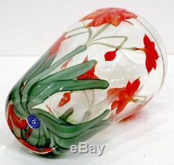 Signé! Sillars & Orientale Flume Art Studio Verre Amaryllis Lily Vase Paperweight